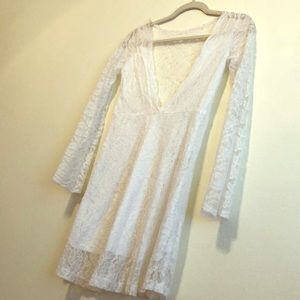 White lace Dress or tunic top, shear lace back